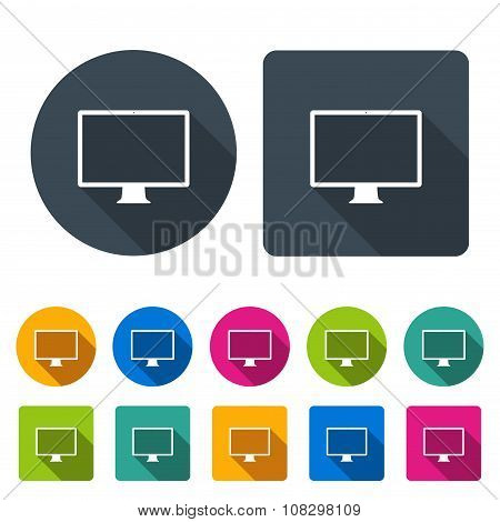Monitor Icons Set In The Style Flat Design Different Color On The White Background. Stock Vector Ill