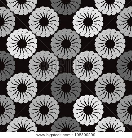 Black And Grey Background White Round Abstract Flowers