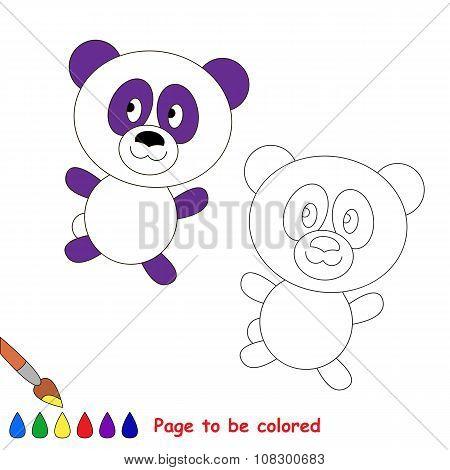 Vector cartoon panda to be colored.