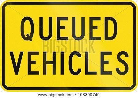 New Zealand Road Sign - Queued Vehicles Ahead