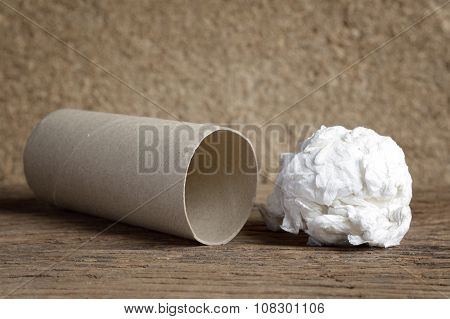 Used Paper Tissue And Leftover Roll