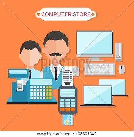 Modern Computer Store Concept Flat Design
