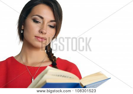 Beautiful Woman In Red Dress Wearing Plait Reading Blue Book