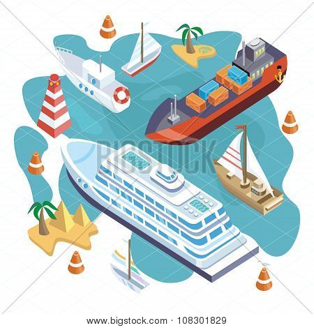 Isometric Set Ships. Sea Transport