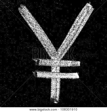 Yen signs on chalkboard