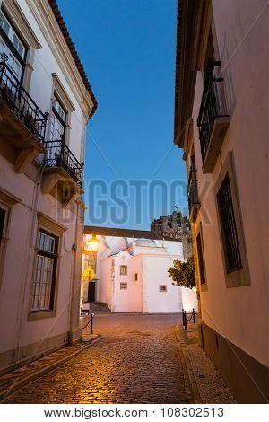 Narrow european street at night