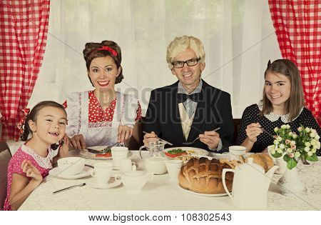 Happy Family Have Breakfast.