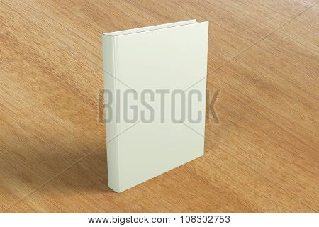Blank Cover Of A Book On A Wooden Table, Mock Up