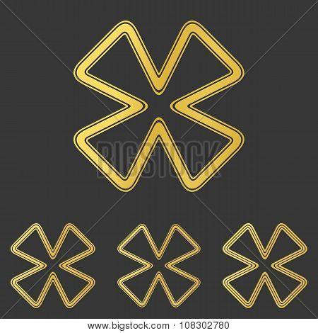 Golden line cloverleaf logo design set