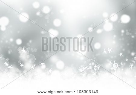 Grey abstract Christmas background with stars and bokeh