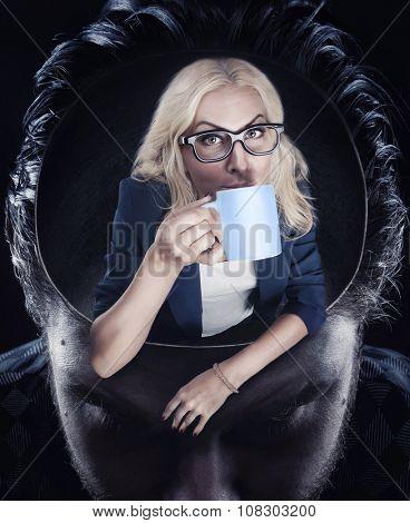 A psychologist drinking coffee inside man's head