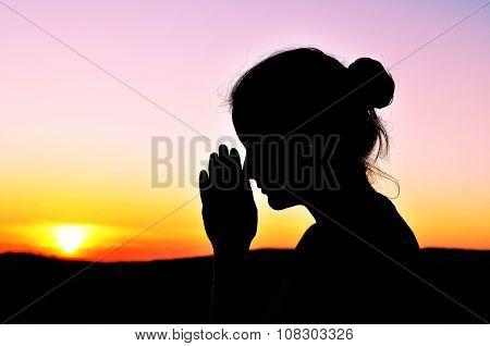 Girl In Prayer. Summer Beauty