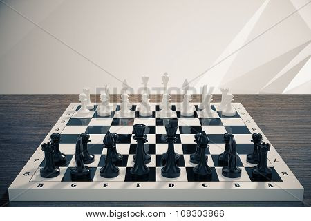 Chessboard On A Wooden Table