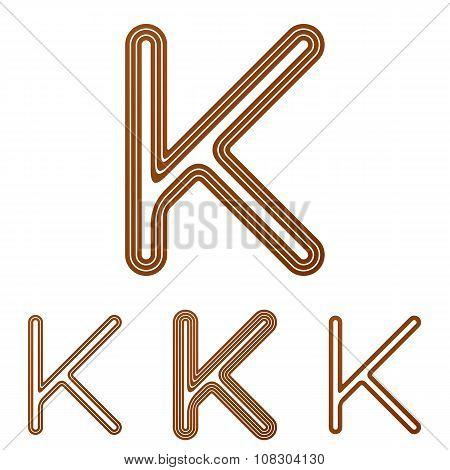 Brown line k logo design set