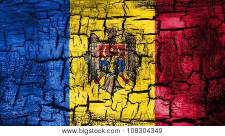 Flag of Moldova, Moldovan Flags painted on cracked ground