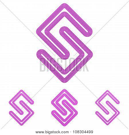Magenta line research logo design set