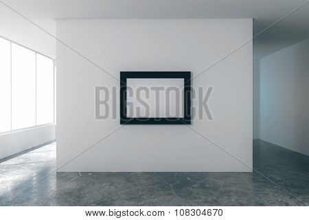 Blank Picture Frame In Empty Loft Room With White Walls, City View And Concrete Floor, Mock Up