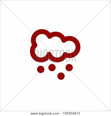 Color Cloud With Snow Vector Line Icon