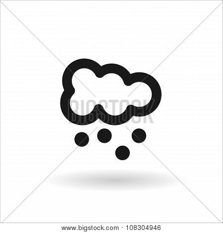 Black  Cloud With Snow Vector Line Icon