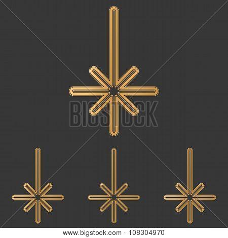 Bronze line compass logo design set