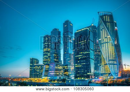 Buildings Of Moscow City Complex Of Skyscrapers At Evening  in n