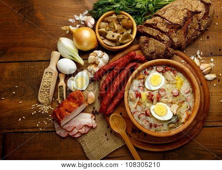 Traditional polish Easter soup Zurek