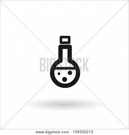 Black Medical Beaker Vector Line Icon