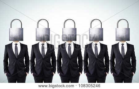 Businessmen With Closed Head Locks