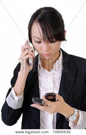 Worried Business Woman Speaking