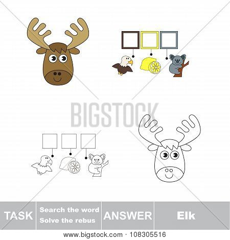 Vector game. Find hidden word Elk. Search the word.