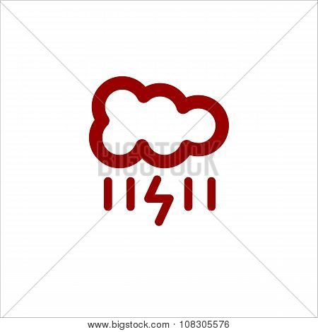 Color Cloud With Lightning And Rain Line Icon