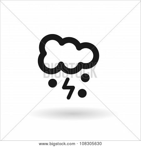 Black Cloud Lightning And Snow Line Icon