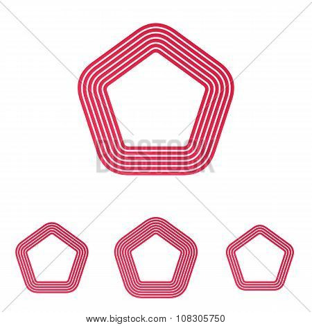 Crimson line pentagon logo design set