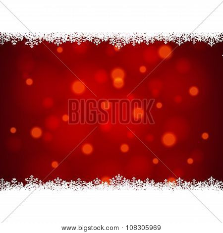 snowflakes border with shiny red background