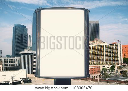 Blank Billboard With Megapolis City View Background, Mock Up