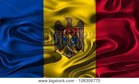Flag of Moldova, Moldovan Flags painted on silk texture