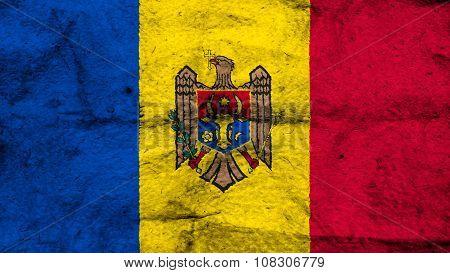 Flag of Moldova, Moldovan Flags painted on wool texture