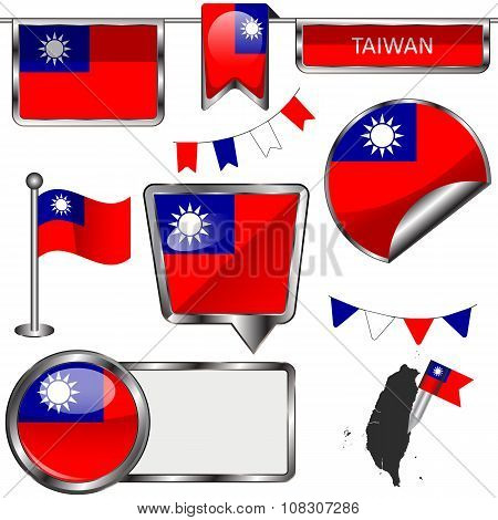Glossy Icons With Flag Of Taiwan