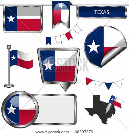 Glossy Icons With Flag Of Texas
