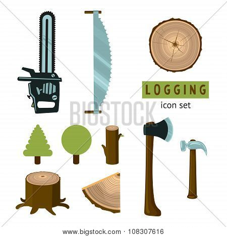 Logging icon set