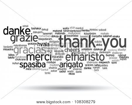 Vector concept or conceptual abstract thank you word cloud in different languages or multilingual for education or Thanksgiving Day