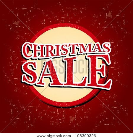 Christmas Sale In Circular Red Banner Over Old Paper Background