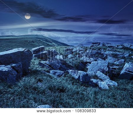 Boulders On The Mountain Meadow At Night