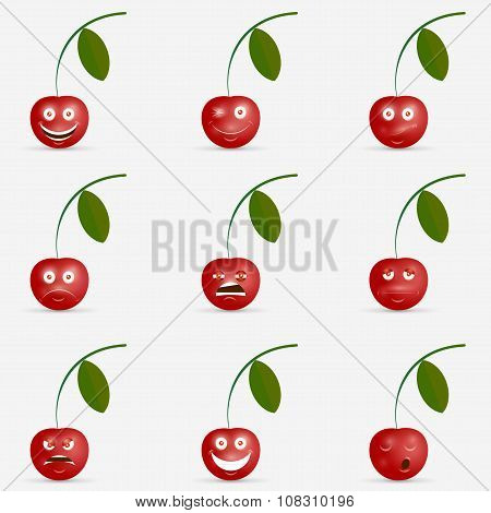 Cherry with many expressions
