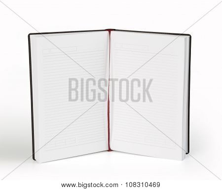 Blank Opened Copybook Template With Bookmark On White Background.
