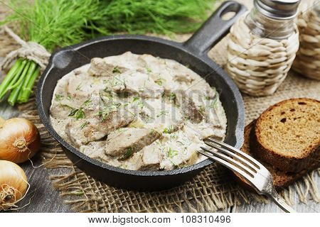 Liver Stewed In Sour Cream