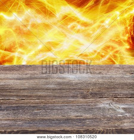 wooden planks with  fire background
