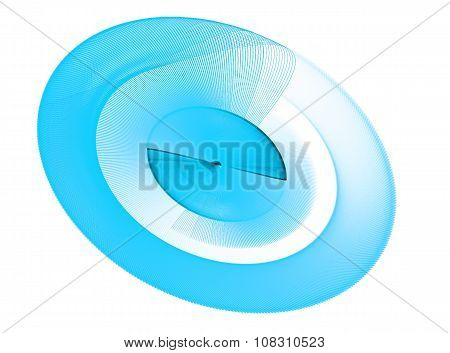 Blue abstract fractal shape with white background