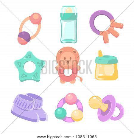 Baby accessories set. Cute design, pastel colors