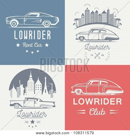 Set Vintage Lowrider Logo Badge And Sign